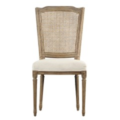 French Provincial Set of 2 Louis Rattan Upholstered Dining Chair in Natural Oak