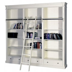 French Provincial Hamptons Open Library Bookcase with Ladder White