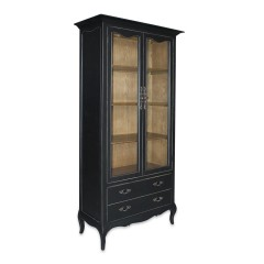 French Provincial Furniture Display Cabinet in Black