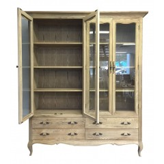 French Provincial Furniture Double Glass Display Cabinet Bookcase