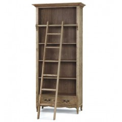 French Provincial Library Bookcase in Natrual Oak with Ladder