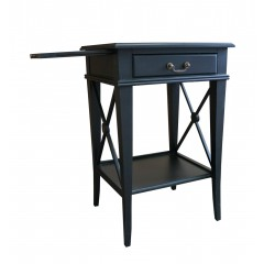 Hampton Cross Black Bedside Lamp Table with Drawer - Left Handle Pull Out