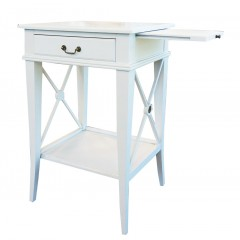 Hampton Cross White Bedside Lamp Table with Drawer - Right Handle Pull Out