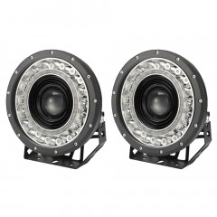 Pair 9 Inch Cree Led Driving Lights Spot Round Black Spotlights 4x4 Offroad Suv