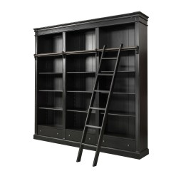 French Provincial bookshelves with ladder Black