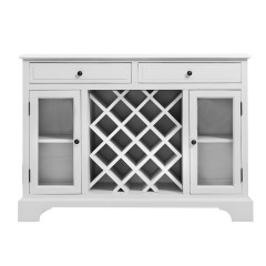 Hamptons Modern 2 Drawer & 2 Glass Door Wine Rack Sideboard Buffet Cabinet White