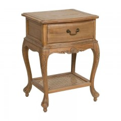 French Provincial Bedside Cabinet Table - Oak