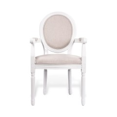 Louis Dining Armchair Set of 2 French Provincial Upholstered Carver Chair White Black Washed Oak