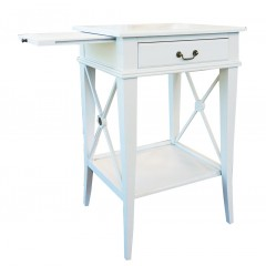 French Provincial Night Stand - White - Left Handle Pull Out