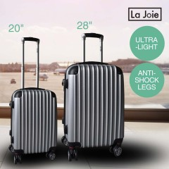 La Joie Hard Luggage Case 2PC Suitcase Travel Set Black Silver White
