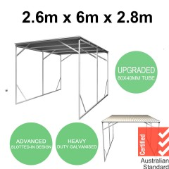 Vehicle Shelter 2.6m x 6m x 2.8m Steel Carport New Design