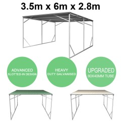 Vehicle Shelter 3.5m x 6m x 2.8m Steel Carport