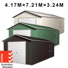 Roller Door Garage Shed 4.17m x 7.21m x 3.24m Workshop + Side PA Door with 4 Frames EXTRA High