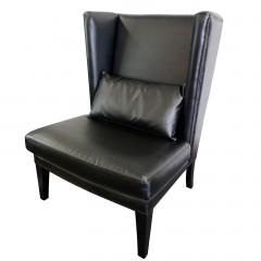 Iago Studded Upholstered Wingback Sofa Lounge Chair Blue Black