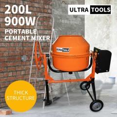 Ultratools Cement Concrete Mixer 200L Sand Gravel Portable 900W Motor Size