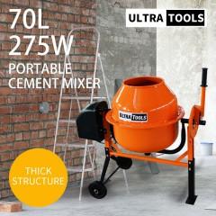 UltraTools Cement Concrete Mixer 70L Sand Gravel Portable 275W Motor Size