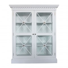 Hamptons Cross Tempered Glass Door Display Cabinet Black White