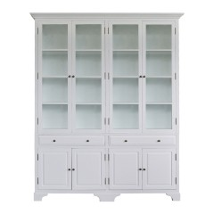 French Provincial Classic Display Cabinet with Tempered Glass in Off White