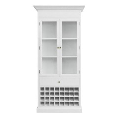 Hamptons Halifax Glass Door Display Cabinet with Wine Rack