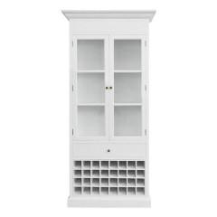 Hamptons Halifax Glass Door Display Cabinet with Wine Rack