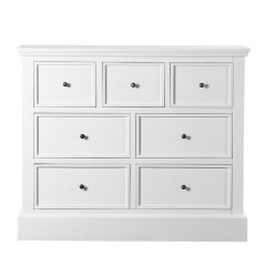 Hamptons Halifax 7 Chest of Drawers Tallboy Cabinet in White