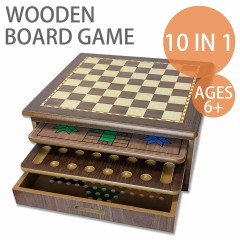 10 in 1 Wooden Board Game Table