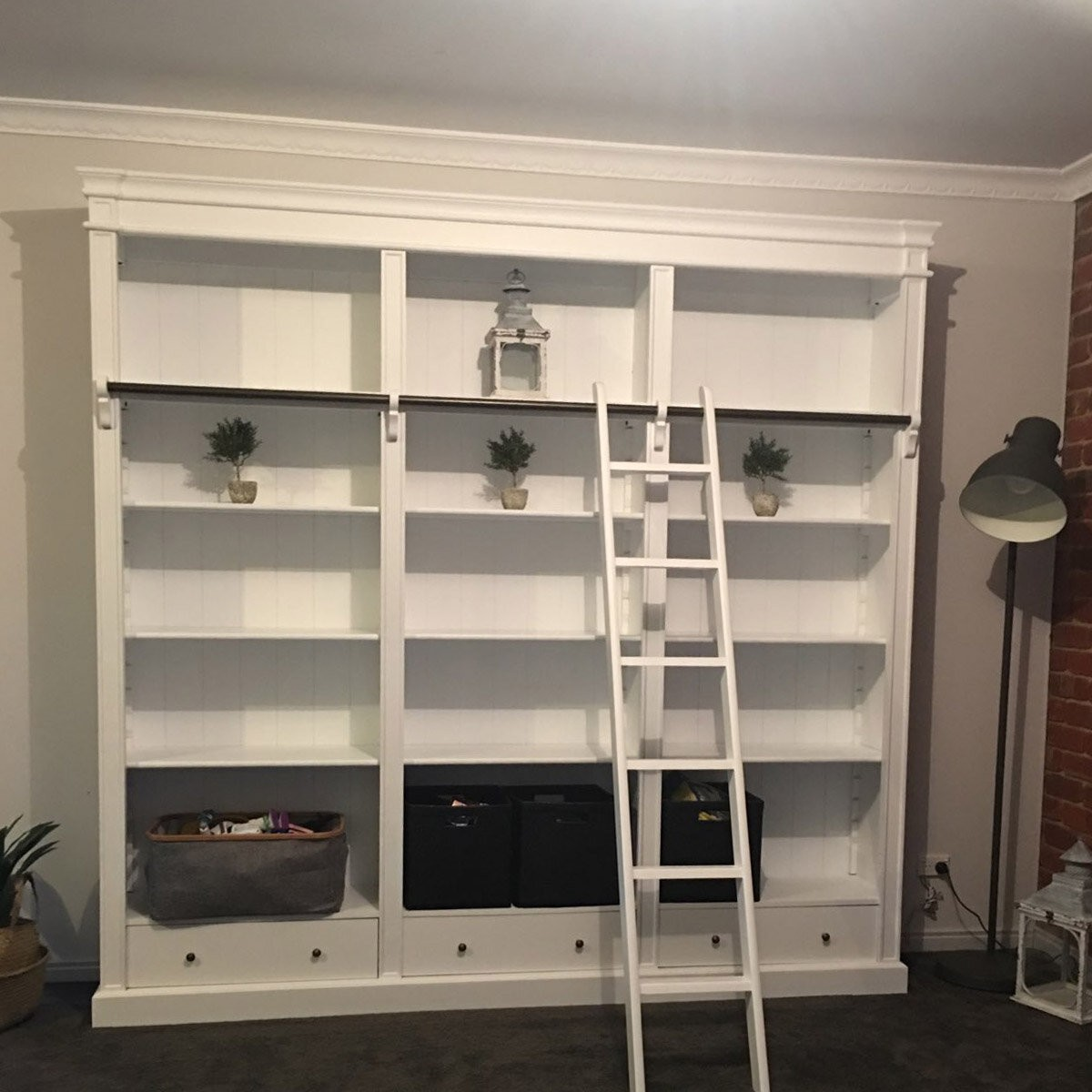 French Provincial Hamptons Open Library Bookcase With Ladder White Wholesales Direct
