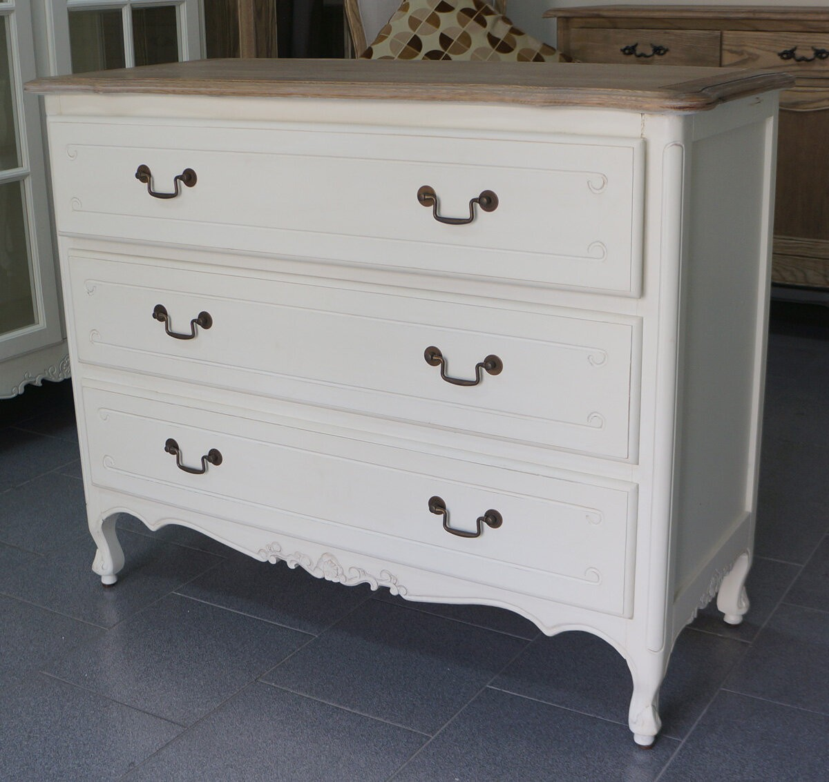 French Provincial Furniture White 3 Drawers Chest With Oak Top