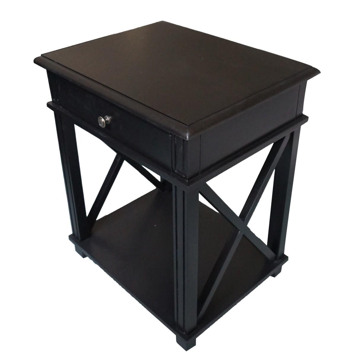 Hamptons Halifax One Drawer Bedside Lamp Table Nightstand Villa Black