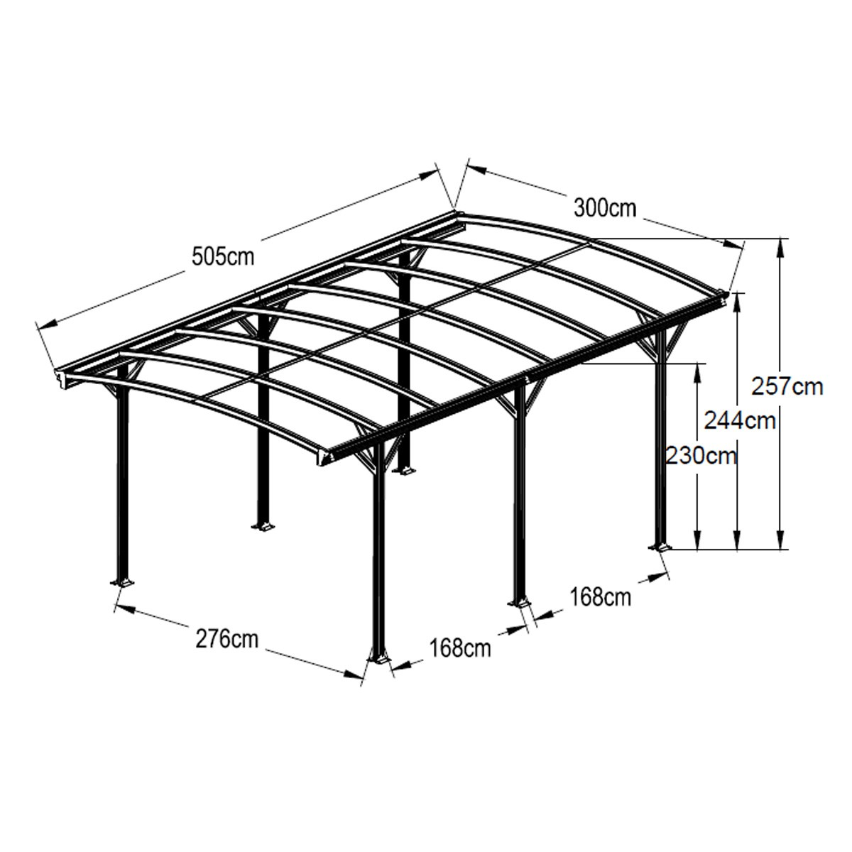 aluminium carport 3 x 5m outdoor canopy car port portable wholesales direct. Black Bedroom Furniture Sets. Home Design Ideas
