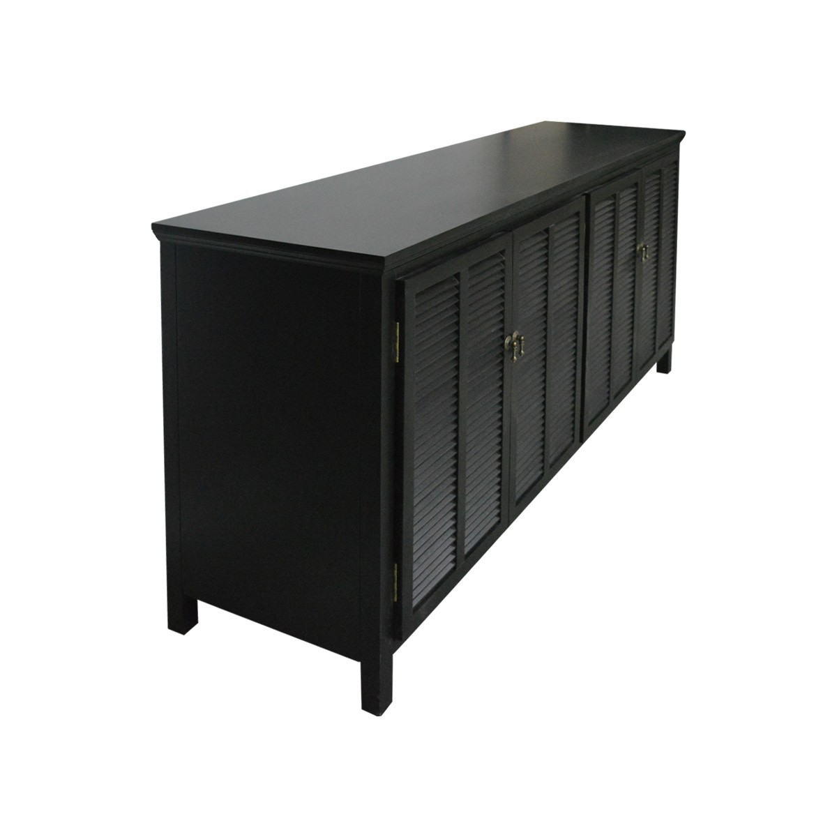 Picture of: Hamptons Louvre 4 Door Sideboard Buffet Cabinet In White Or Black Wholesales Direct