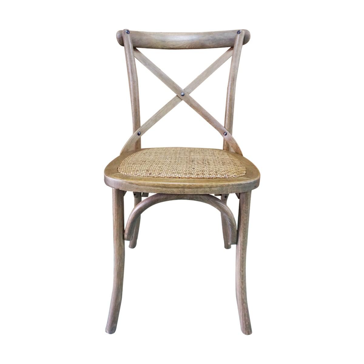 Hamptons cross back dining chair birch american oak rattan seat