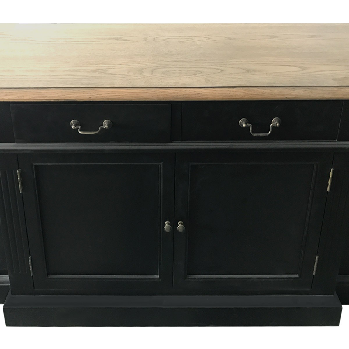 Hamptons Style Black Buffet And Hutch Sideboard Bookcase