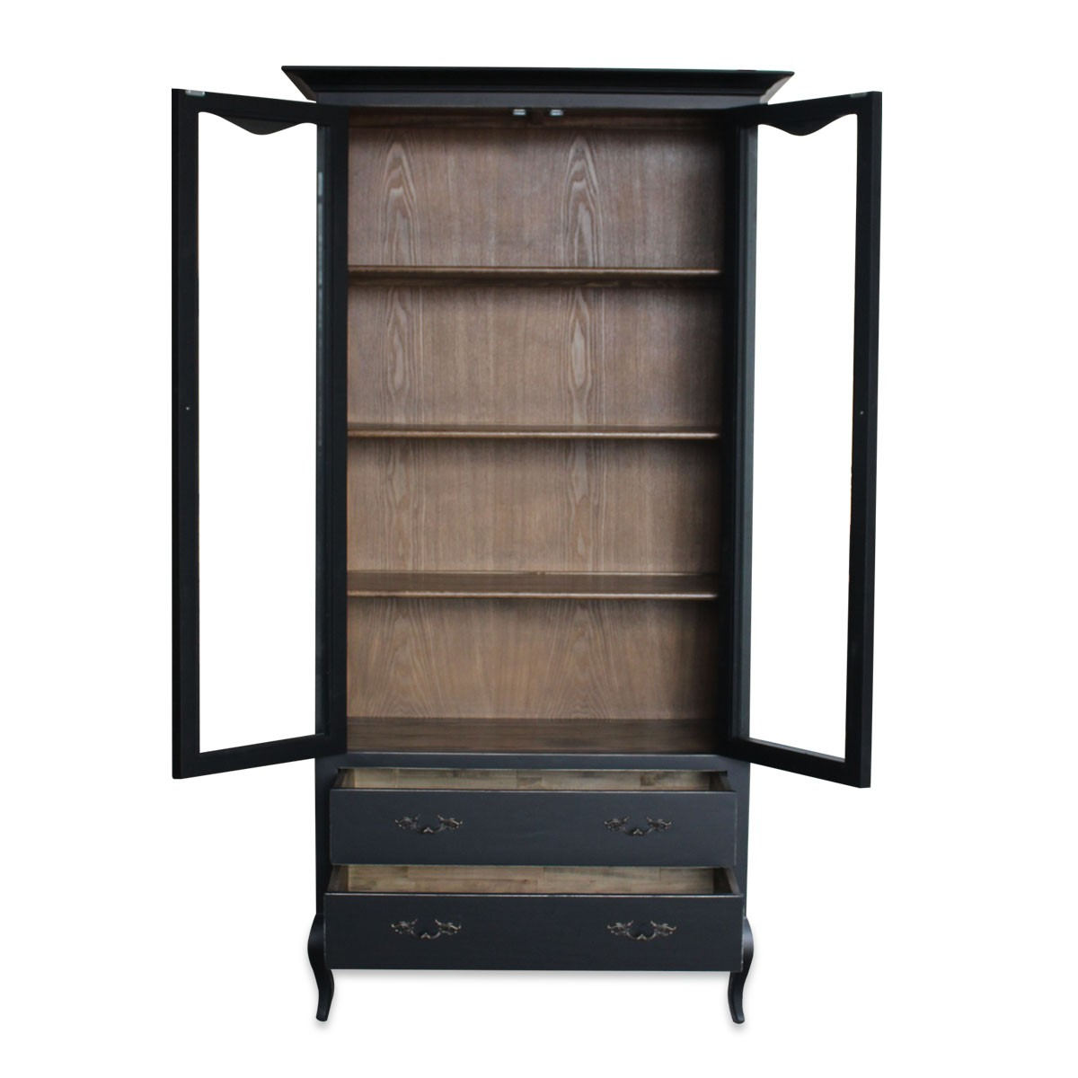 ... French Provincial Furniture Display Cabinet In Black ...