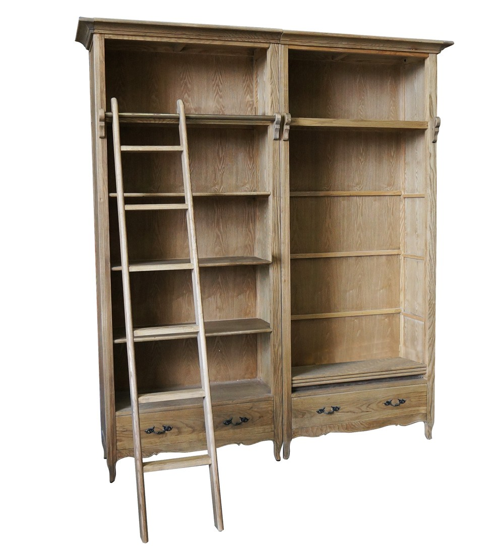 French Provincial Library Bookcase Natural Oak With Ladder