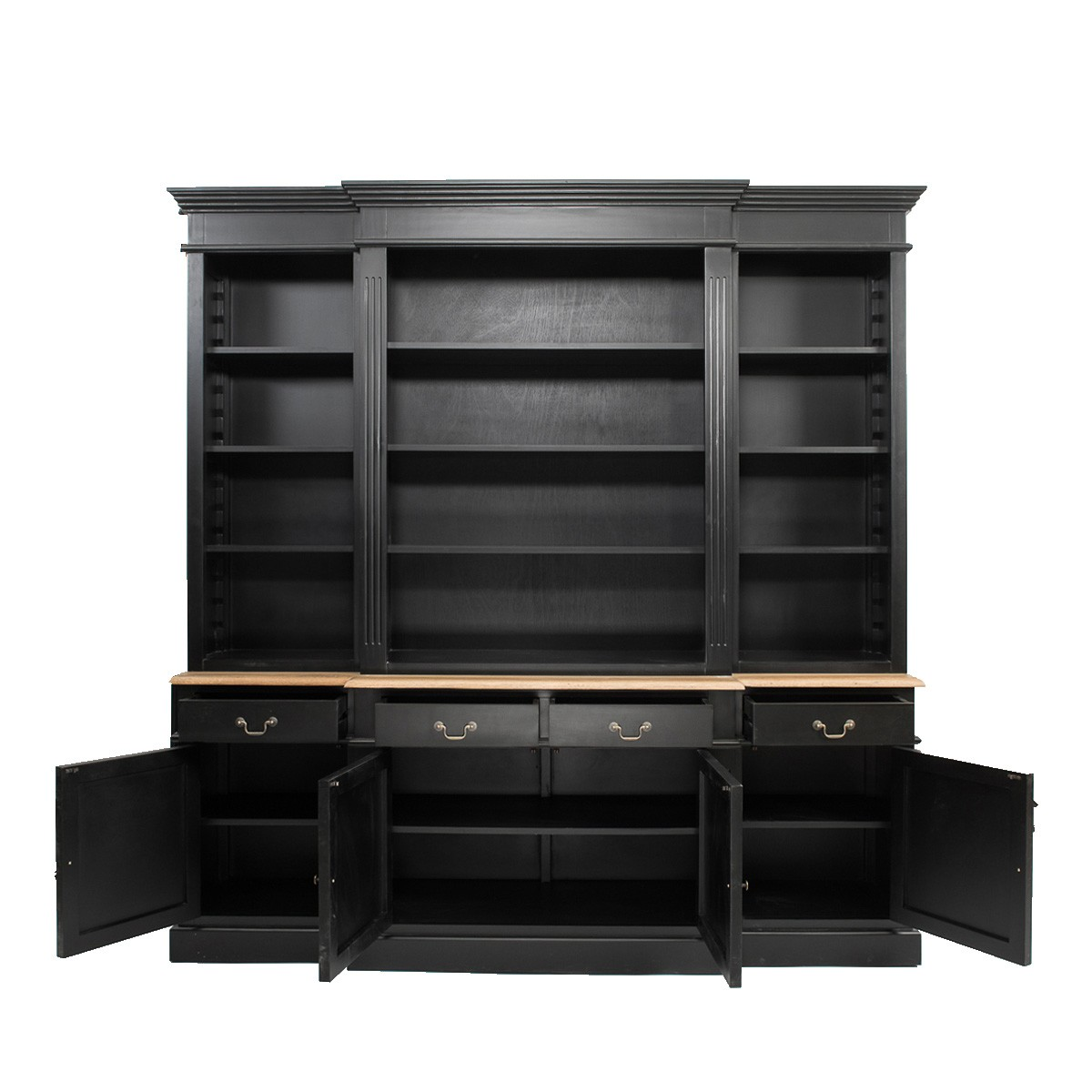 Hamptons Style Black Buffet and Hutch Sideboard Bookcase Cabinet with Drawers Wholesales Direct