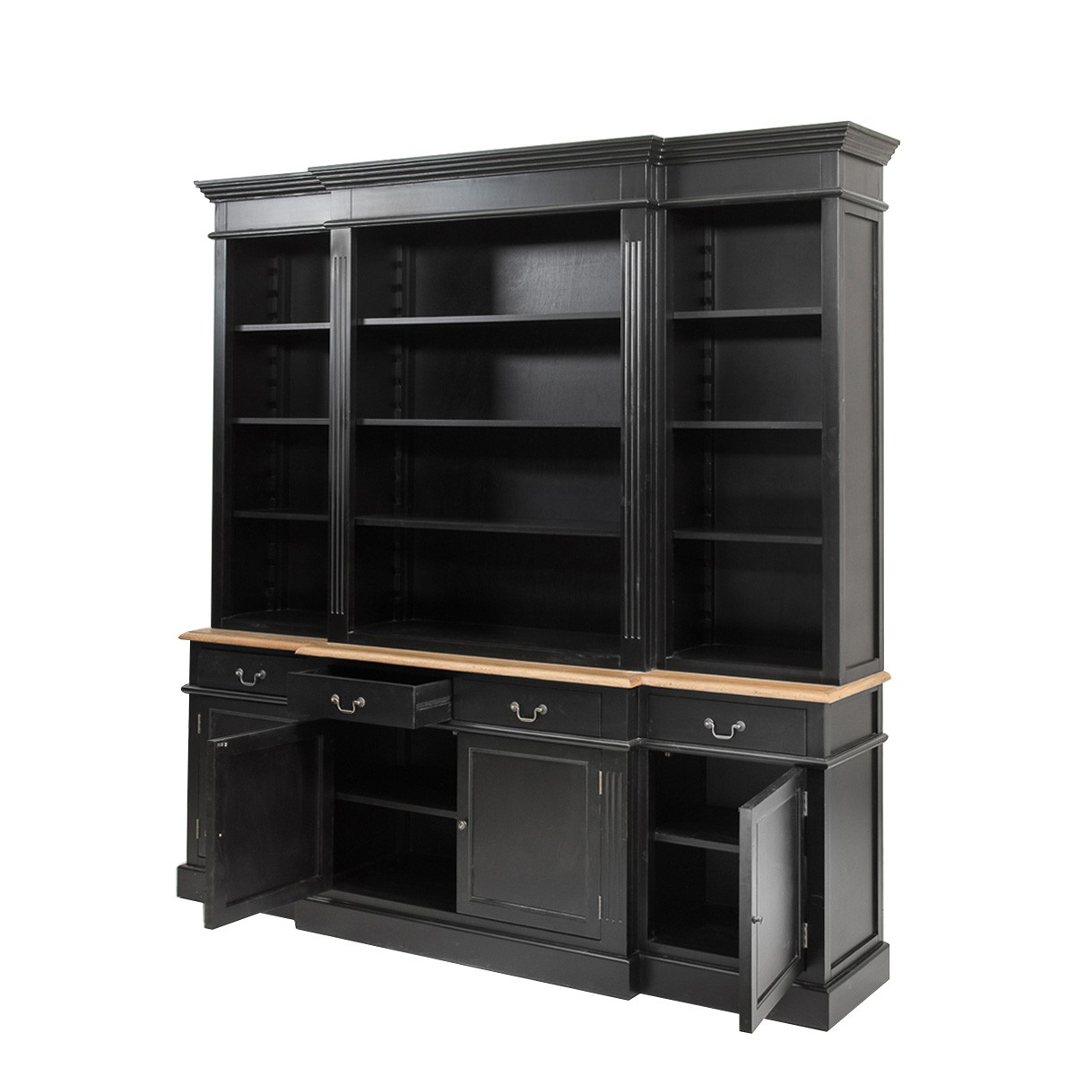 Picture of: Hamptons Style Black Buffet And Hutch Sideboard Bookcase Cabinet With Drawers Wholesales Direct