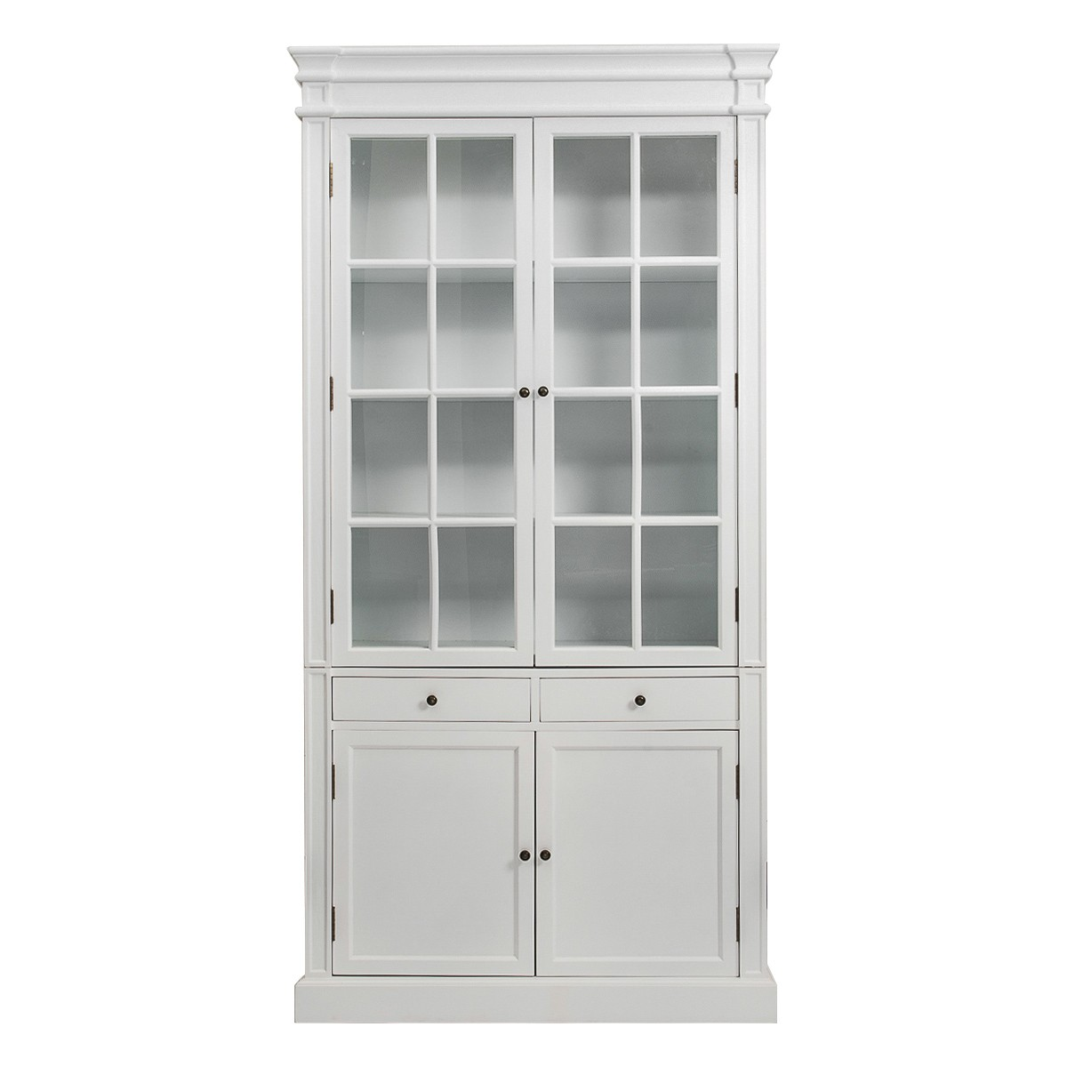 French Provincial Hamptons 2 Glass Door Display Cabinet Bookcase In White