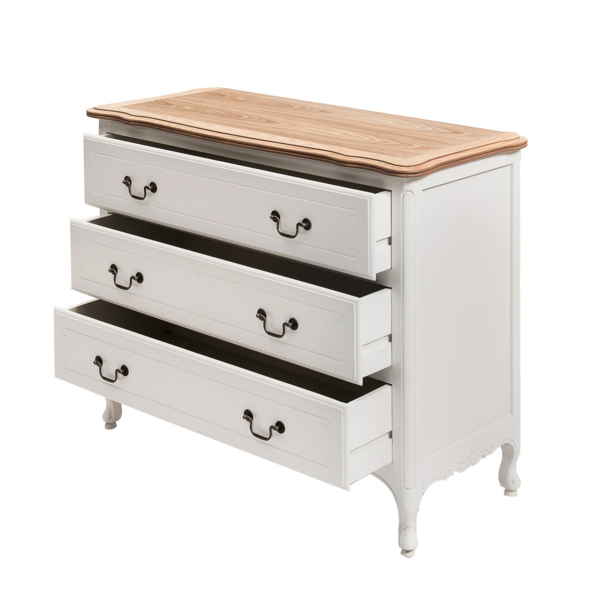 French Provincial Furniture White 3 Drawers Chest With Oak Top Colours May Differ On Viewing Device All Rights Reserved