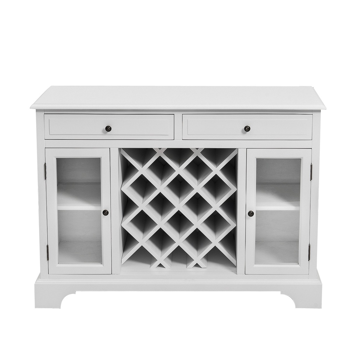Hamptons Modern 2 Drawer 2 Glass Door Wine Rack Sideboard Buffet Cabinet White Wholesales Direct