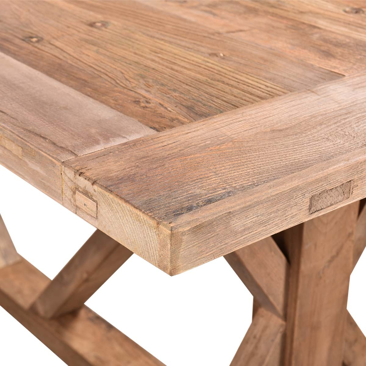 Lemans Rustic Dining Table 200cm Reclaimed Elm Wood Natural French