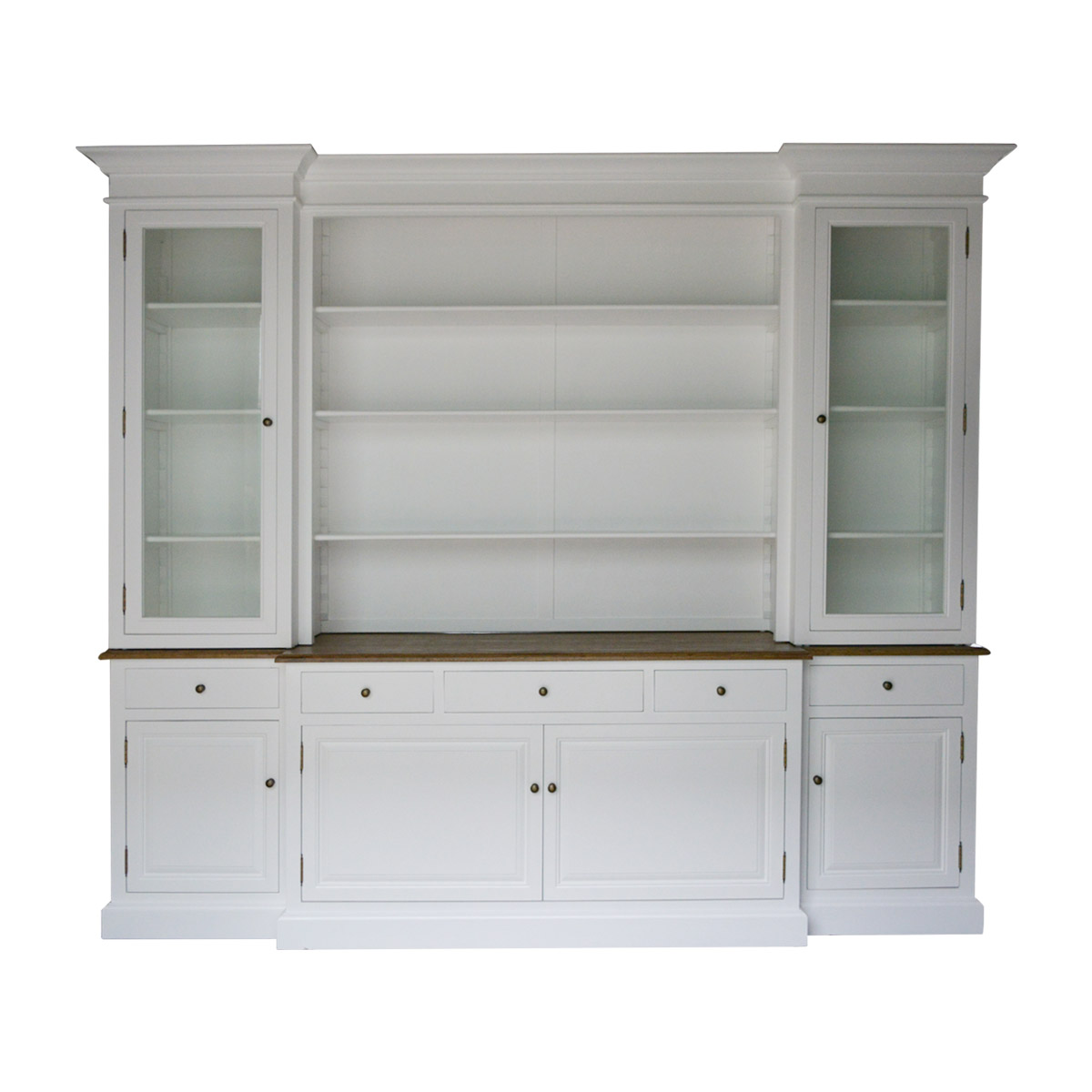 Hampton Style Buffet Sideboard And Glass Hutch Open