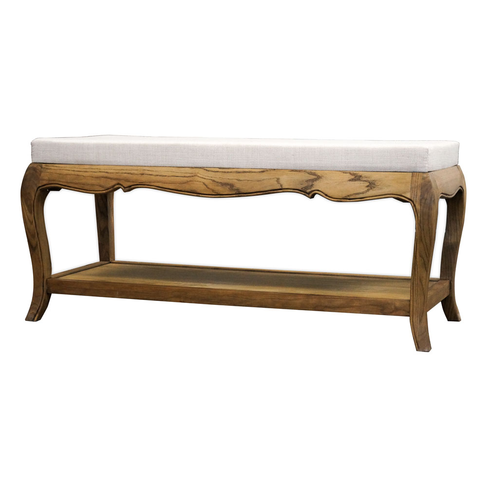 French Provincial Vintage Furniture Bed End Stool in Natural Oak