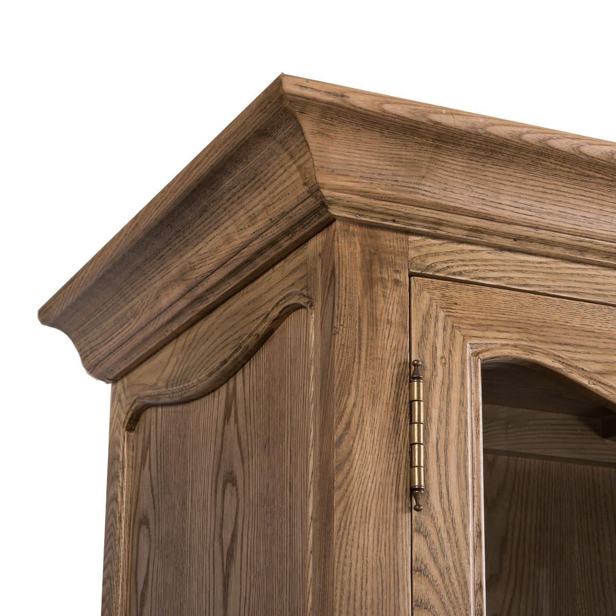French Provincial Furniture Display Cabinet In Natural Oak