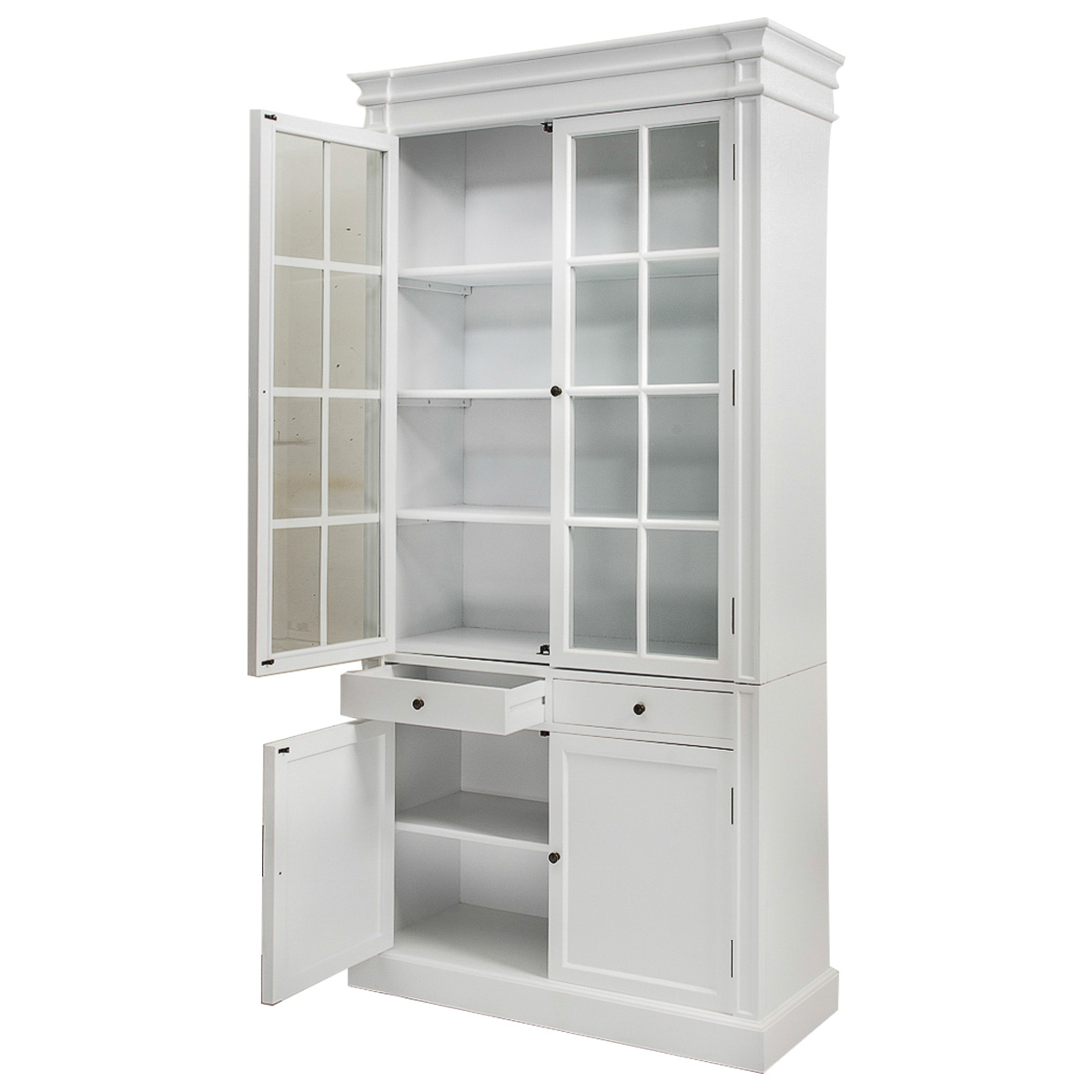 French Glass Kitchen Cabinet Doors: French Provincial Glass Door Bookcase Cabinet White