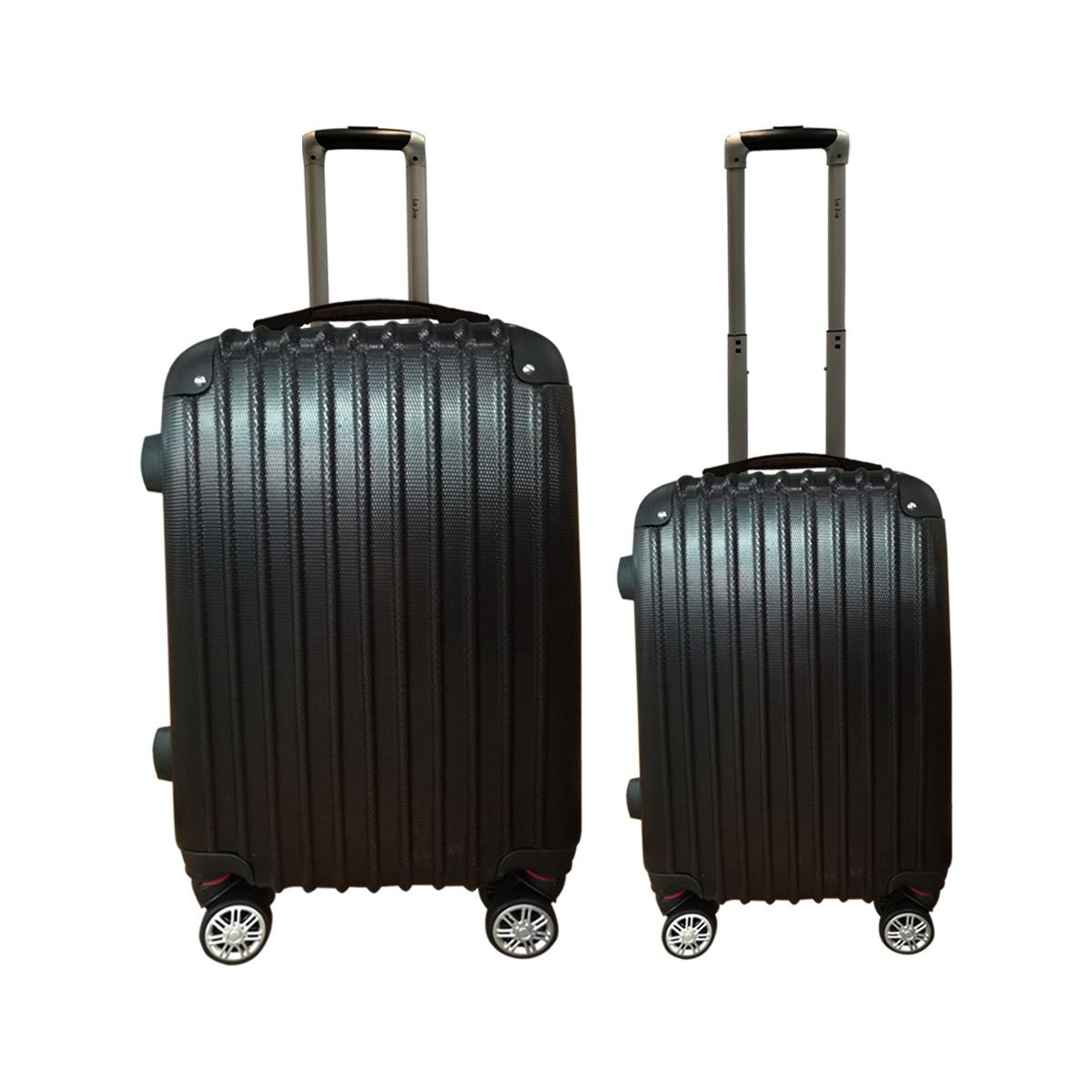 La Joie Hard Luggage Case 2PC Suitcase Travel Set Black