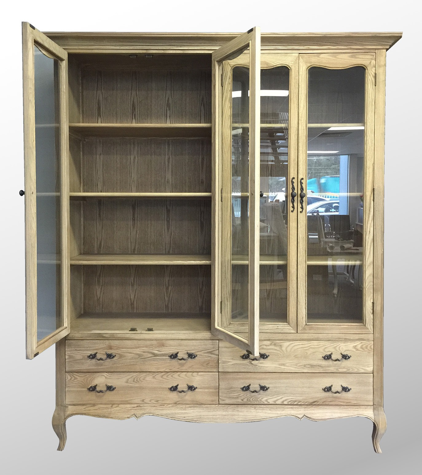 French Provincial Furniture Double Glass Display Cabinet